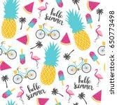 summer pattern. watermelon ... | Shutterstock .eps vector #650773498