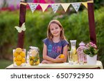 young girl standing at her... | Shutterstock . vector #650792950