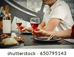 dinner with friends. | Shutterstock . vector #650795143
