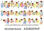 musical score and asian kids  ... | Shutterstock .eps vector #650800969