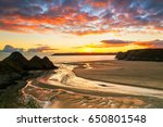 three cliffs bay  gower ... | Shutterstock . vector #650801548