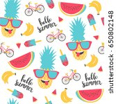 summer pattern. watermelon ... | Shutterstock .eps vector #650802148