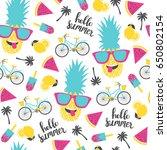summer pattern. watermelon ... | Shutterstock .eps vector #650802154