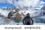 traveler and mount fitz roy. | Shutterstock . vector #650804350