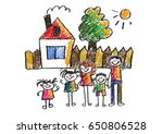 kids drawing happy family... | Shutterstock . vector #650806528