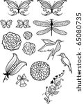 vector flowers  butterflies ... | Shutterstock .eps vector #65080735