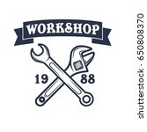 vintage vector mechanic logo...   Shutterstock .eps vector #650808370