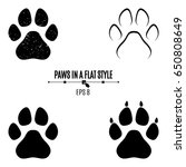 a set of dog's paws. black... | Shutterstock .eps vector #650808649