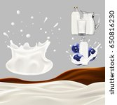 set of pouring milk and splash. ... | Shutterstock . vector #650816230