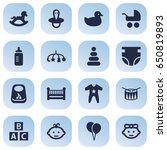 set of 16 child icons set... | Shutterstock .eps vector #650819893