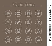 set of 16 science outline icons ... | Shutterstock .eps vector #650822740
