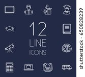 set of 12 science outline icons ... | Shutterstock .eps vector #650828239