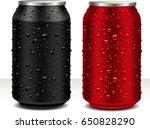 aluminum cans in black  dark... | Shutterstock .eps vector #650828290