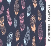 ethnic feathers seamless... | Shutterstock .eps vector #650829718