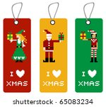 Christmas label with different funny season pixel characters. - stock vector