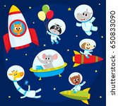 cute little animal astronauts ... | Shutterstock .eps vector #650833090