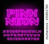 neon tube alphabet font. pink... | Shutterstock .eps vector #650841784