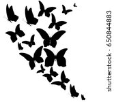 black butterfly  isolated on a... | Shutterstock . vector #650844883