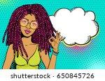 pop art female face. sexy... | Shutterstock .eps vector #650845726