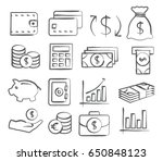 money icons in doodle style | Shutterstock . vector #650848123