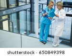 female doctor and nurse... | Shutterstock . vector #650849398