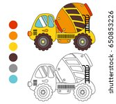coloring book concrete truck ... | Shutterstock .eps vector #650853226