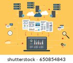 laptop accessing data from... | Shutterstock .eps vector #650854843
