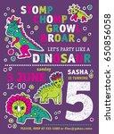 invitation dinosaurs girl party ... | Shutterstock .eps vector #650856058