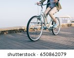woman is riding a beautiful... | Shutterstock . vector #650862079