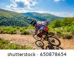a man is riding bicycle  on the ... | Shutterstock . vector #650878654