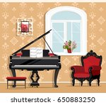 cute fashionable living room... | Shutterstock .eps vector #650883250