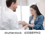 young fascinated lady feeling... | Shutterstock . vector #650889943