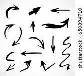 hand drawn arrows  vector set | Shutterstock .eps vector #650894710