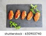 fried chicken wings. | Shutterstock . vector #650903740