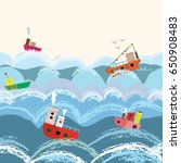 sea and boats pattern or border ... | Shutterstock .eps vector #650908483