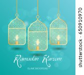 ramadan kareem greeting card.... | Shutterstock .eps vector #650910970