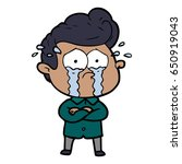 cartoon crying man with crossed ... | Shutterstock .eps vector #650919043