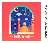 eid mubarak greeting background ... | Shutterstock .eps vector #650928553