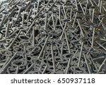 3d rendering  a pile keys selver   Shutterstock . vector #650937118