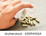 medicine or pill are prepared... | Shutterstock . vector #650944564