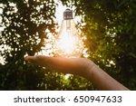 concept idea  hand hold light...