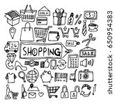shopping doodle sketch vector... | Shutterstock .eps vector #650954383