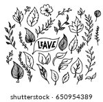 leave doodle sketch vector ink   Shutterstock .eps vector #650954389