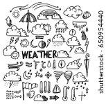 weather doodle sketch vector ink | Shutterstock .eps vector #650954440