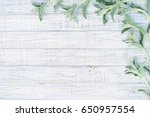 natural floral frame with... | Shutterstock . vector #650957554