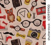 seamless pattern with hipster... | Shutterstock . vector #650959900