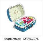 open suitcase with clothes for...   Shutterstock .eps vector #650962876