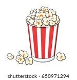 popcorn bucket box isolated.   Shutterstock .eps vector #650971294