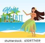 hawaiian hula dancer young... | Shutterstock .eps vector #650977459