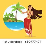hawaiian hula dancer young... | Shutterstock .eps vector #650977474